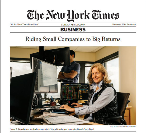 Nancy Zevenbergen and the Virtus Zevenbergen Innovative Growth Stock Fund Featured in The New York Times
